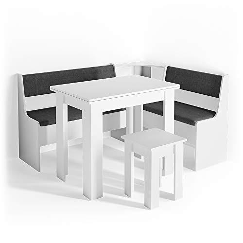 Vicco Eckbankgruppe Roman Esszimmergruppe Eckbank Sitzgruppe Tisch Hocker (Weiß, 150x120cm)