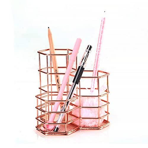 Aloces Soporte de hierro para lápices, organizador de bolígrafos, organizador de oficina, color oro rosa, metal