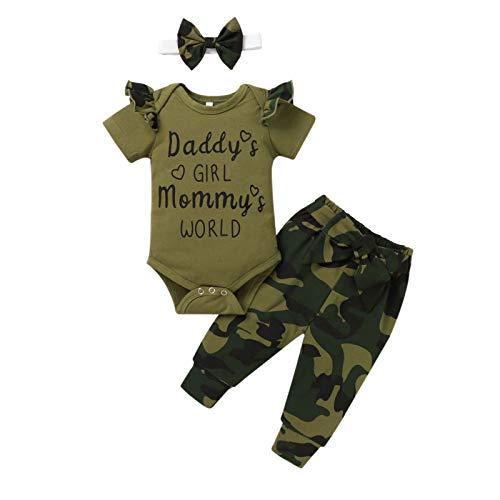 Beudylihy Unisex Baby Kleidung Tarnkleidung Sets Neugeborene Tarn Langarm Tarnhose Bodysuit Hose Hut 3 Stück Outfit Set Sommer Outfitt Infant Baby Bekleidungssets
