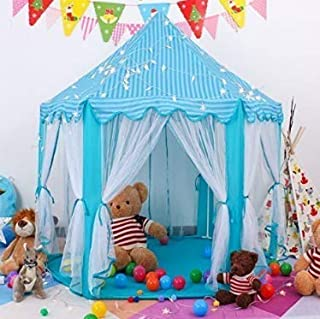 Maxhappy Large Princess Tent with Lights Blue Kids Hexagon Playhouse Boys Castle Play Tent Indoor Outdoor Game (Blue Princess Tent with Light)