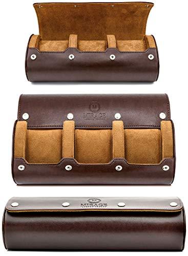 Watch Travel Case - for Men - for Women - Watch Roll Travel Case Organizer Display - Watch Case - Watch Organizer - Swiss Motif Classy Espresso