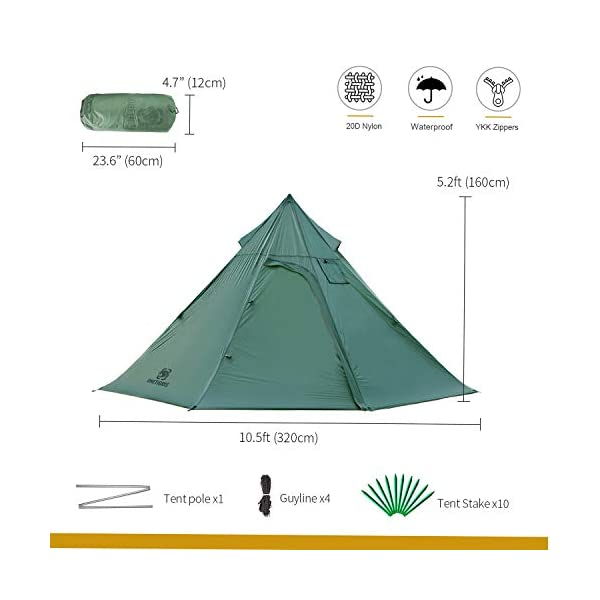 OneTigris Iron Wall Stove Tent, Lightweight Teepee Camping Tent with Removable Inner Mesh, 20D SIL-Nylon 1-3 Persons for…