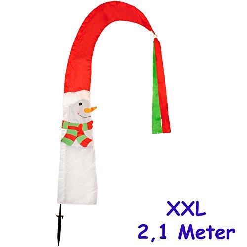 alles-meine.de GmbH 1 Stück _ große XL - 2,1 m ! - Windfahne / Balifahne -  Weihnachten / Schneemann  - mit Fahnenstange - UV-beständig & wetterfest - Windrichtungsanzeige - Wi..