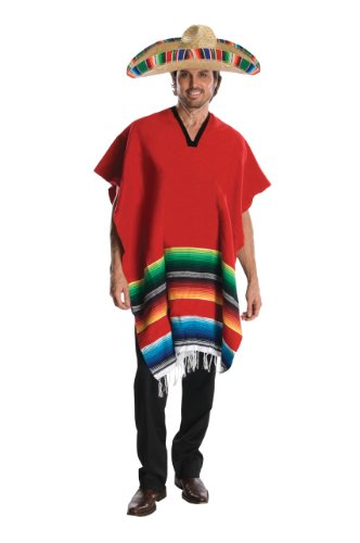 Rubie's costumes Heroes and Hombres, Adult Hombre Poncho Sombrero Costume, Red, Standard US