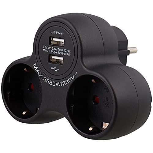 Doble enchufe múltiple Mir 2 USB Conexión 2.1 A Max 3680W (Negro)