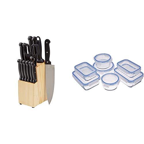 Amazon Basics - Juego de cuchillos de cocina y soporte (14...
