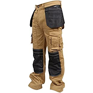newfacelook Men Work Trousers Combat Cargo Working Pants Heavy Duty Multi Pockets Cordura Knee Worker Trouser