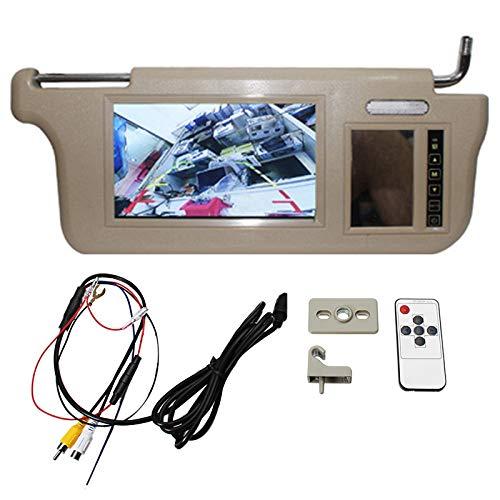 Senmubery 7 Zoll Auto Sonnenblende Spiegel Bildschirm LCD-Monitor 12V Beige Innen Spiegel Bildschirm Rechts für AV1 AV2 Player Kamera