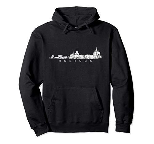 Rostocker Skyline (Vintage Weiß) Rostock Pullover Hoodie
