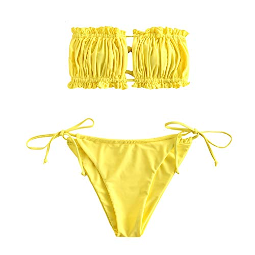 ZAFUL Damen Bandeau Tie Cutout Bikini Set Beachwear (Gelb-3, S)