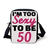 50th Birthday Decorations,Too Sexy To Be Fifty Funny Pictogram with Hand Writing,Pink Black White Print Kids Crossbody Messenger Bag Purse