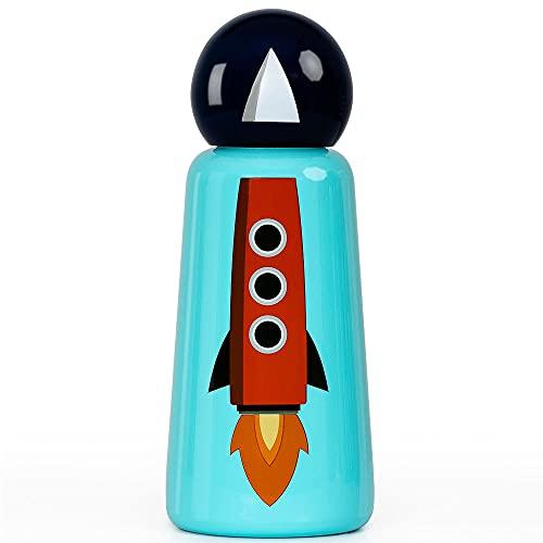 Botella de agua de acero inoxidable | Botella de agua aislada de 300 ml libre de BPA | Frío y moderno a prueba de fugas | Frío durante más de 24 horas, caliente para 12 | Rocket by Lund London