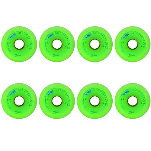 85a Pu VerschleißFestigkeit Inline Rollschuh ErsatzräDer, FüR Rollhockey Slalom Freestyle Skates, 8-Packs Inline Skates Rollen, Geeignet FüR Junge Leute 8pcs(green72mm/2.83 inches)