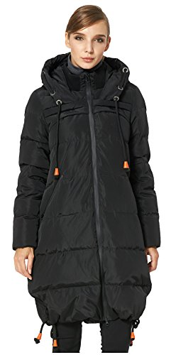 Orolay Women's Color Drawstring, Thickened Contrast, Hooded Coat, Down Jacket