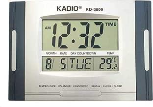 Kadio 3809 Multi-Functional Digital Electronic Clock Digital 27 cm X 20 cm Wall Clock (Blue, Grey, with Glass)