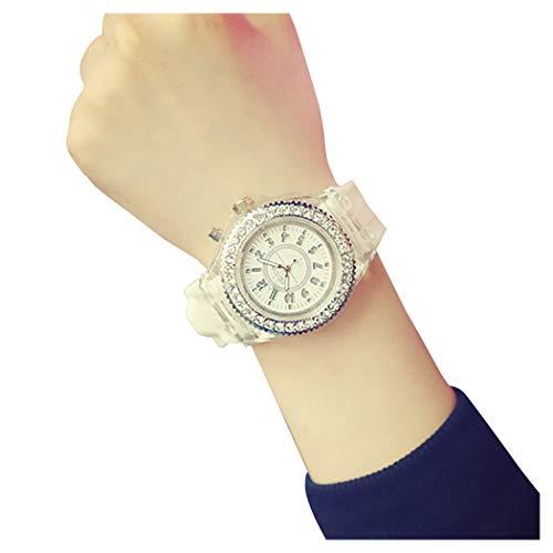 Geneva LED Backlight Glow Quartz Watch Hosamtel Unisex Waterproof Sport Rhinestone Silicone Band Roman Number 12-Hour Dial Analog Wristwatch (White)
