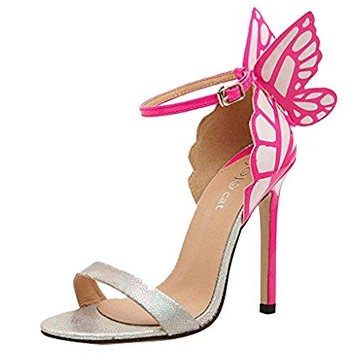 Minetom - Sandali da donna con tacco a spillo e farfalla sul tallone Silver UK 5,5