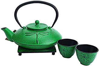 M.V. Trading T8190 Cast Iron Tea Set with Trivet, 37 Ounce, Emerald Green Dragonfly