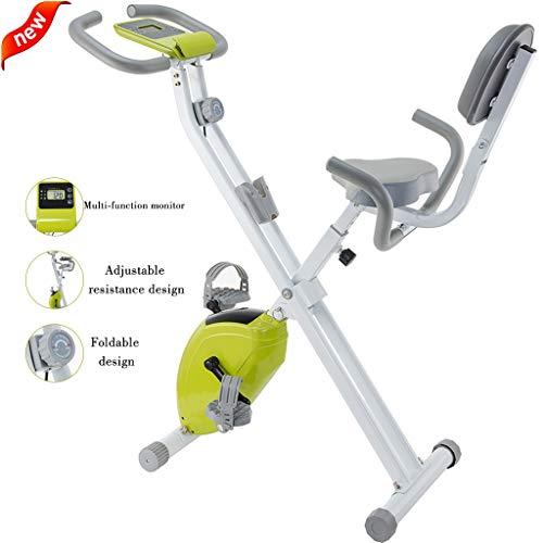DXIN Fitnessbikes Indoorcycling Bikes Heimtrainer Fahrrad klappbar Heimtrainer Vertikale Magnet-Heimtrainer Indoor-Silent-Spinning-Bikes Sport-Fitnessgeräte (Color : Green)