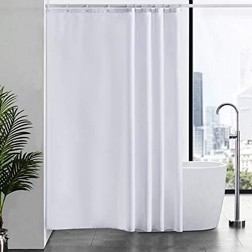 Furlinic Duschvorhang für Badewanne & Dusche in Badezimmer, Textiler Badvorhang Anti-schimmel aus Stoff Waschbar Wasserdicht, Weiß mit 12 Ringe 180x210cm.