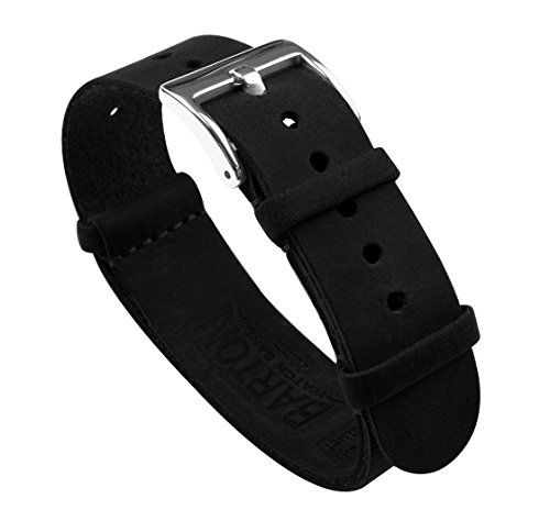 22mm Black Standard Length- Barton Leather NATO Style Watch Straps