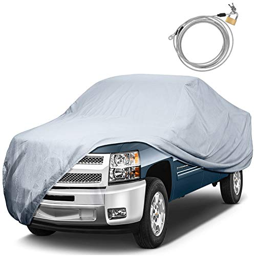 KAKIT 6 Layers Truck Cover Waterproof All Weather Windproof Snowproof UV Protection Pickup Truck Covers with Anti-Theft Lock(Fits Up to 242')