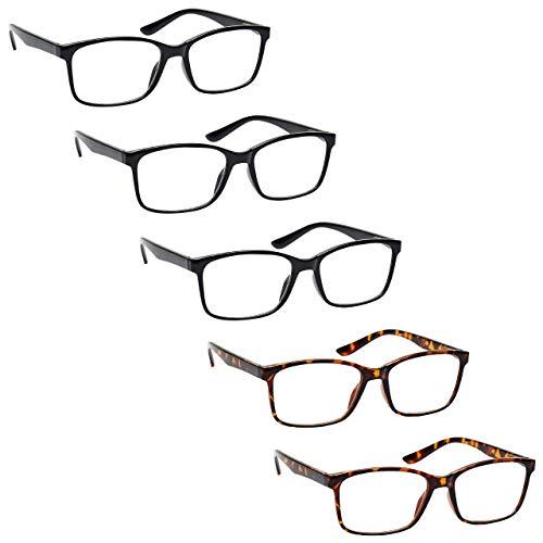 The Reading Glasses Company Die Lesebrille Unternehmen Herren Groß Schwarz Braun Leser Wert 5er-Pack Designer Stil Federscharniere RRRRR83-11122 +2,50