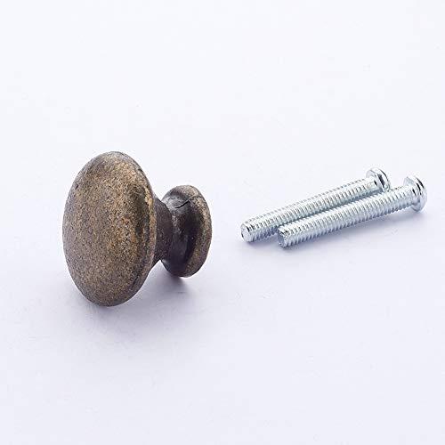 MroMax 家具取っ手つまみ アンティーク調ハンドル 取っ手 丸型 食器棚扉引き出しノブ 丸い取っ手 取っ手つまみ 金属 ネジ付き 亜鉛合金製 グリーンブロンズ 直径25mm 高さ20mm 2個入り