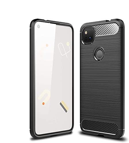 Diman Hülle für Google Pixel 4a & Panzerglas, Ultra Thin TPU Silikon Handyhülle Stoßfest Hülle Cover, Schwarz