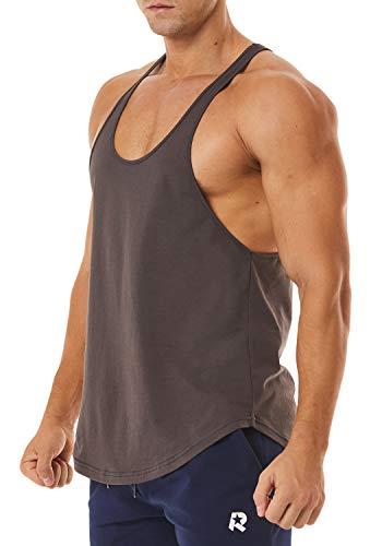 ROWILUX Men's Workout Quick Dry Soft Gym Bodybuilding Stringer Tank Tops (Rock Ash,S)