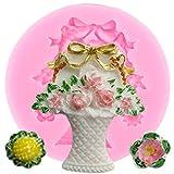 FGHHT Canasta de Flores 3D Molde de Silicona Cupcake Topper Fondant Herramientas de decoración de Pasteles Pastel para Hornear Caramelo Arcilla polimérica moldes de Chocolate