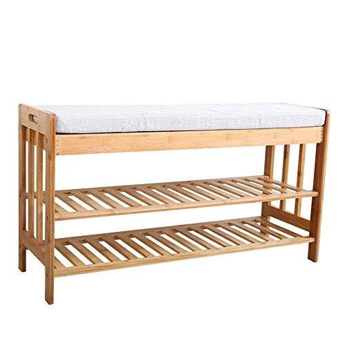 GENFALIN 100% banco de bambú zapatero, de 3 niveles Puerta de entrada del organizador del almacenaje de los asientos, con zapatos Estante for las botas, ideal for Pasillo cuarto de baño Corredor de es