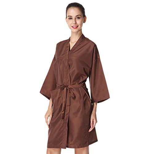 Pinji - Bata de Peluquería para Cliente Estilo Kimono, Capa para Peluquería, Bata de Masaje en el SPA Bata de Kimono de Salón de Belleza Uniforme de Cliente Marrón