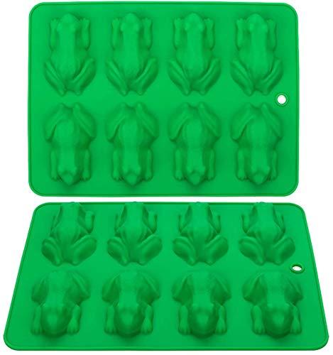 Webake Lot de 2 moules à chocolat en silicone anti-adhésif réutilisables pour gelée, crayons, gélatine, décoration de gâteau, savon, résine, motif grenouille (vert)