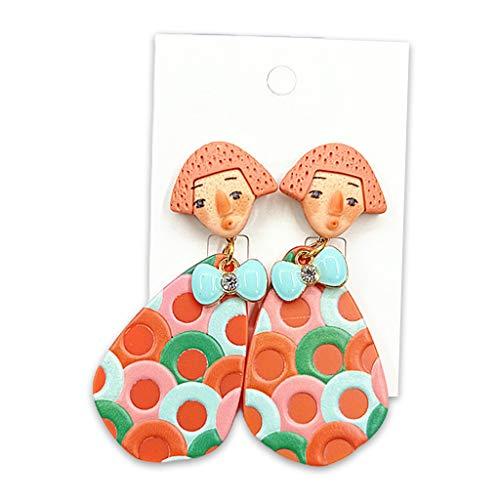 XUNXI Anillos de Moda, 1 par de Pendientes Colgantes de muñeca Tribal primitiva India Vintage, Gotas para los oídos de acrílico, Naranja