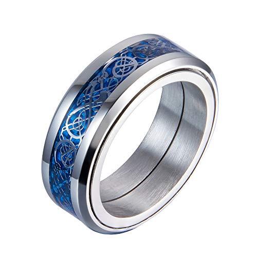 PAURO Hombre Acero Inoxidable Plata Celtic Dragon Bordes De Color Claro Azul Fibra De Carbono Inlay Giratorio Anillo 8mm Band Tamaño 29