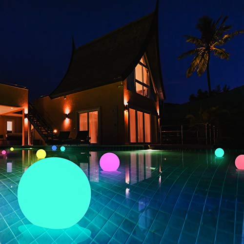 4 Stück Pool LED Ball Licht, Swonuk Wasserdicht IP67 Unterwasser Licht, RGB Multi Farbwechsel Leuchten mit RF-Fernbedienung für Pooldekor im Freien, Badespielzeug, Nachtlicht, Weihnachtsdekoration