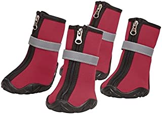 Zack & Zoey Neoprene Dog Boots Winter Paw Protection Safety Sole - Choose Red or Blue & Size