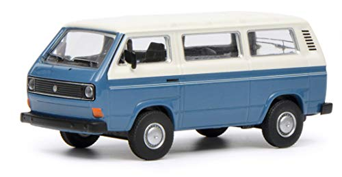 Schuco 452017200 452017200-VW T3 Bus - Maqueta de Coche (Escala 1:64), Color Blanco y Azul