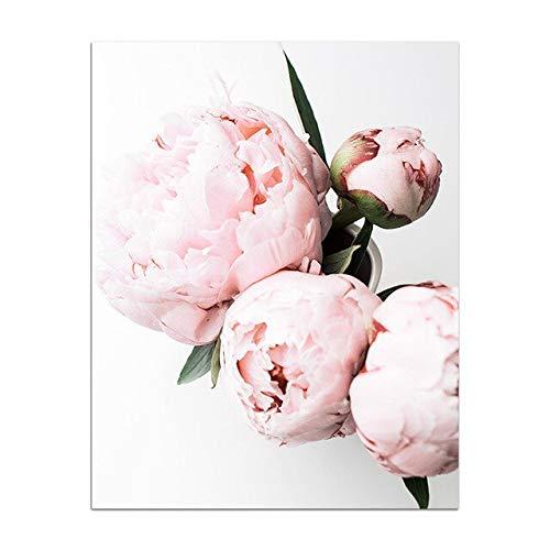 Leinwand Malerei rosa Pfingstrose Blumen Poster und Drucke Blumen Wandkunst Bild moderne Rahmen Dekoration Schlafzimmer Dekor Poster