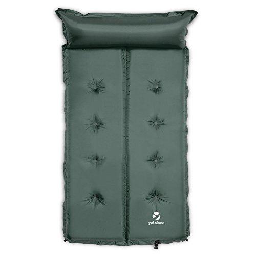 Yukatana Goodbreak - Colchoneta Doble Aislante autohinchable (Esterilla Auto Inflable, colchón Camping, desplegable, Almohada, Bolsa Transporte, 5 cm de Grosor, 102 x 5 x 193, Verde)