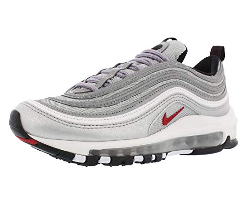 Nike Womens Air Max 97 OG QS Silver Bullet La Silver - Metallic Silver/Vrsty Rd Trainer Size 4 UK