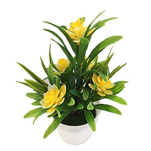 LbojailiAi Flor Artificial Flor de Loto Artificial Falsa Planta en Maceta Bonsai Wedding Party Garden Decoraciš®n para el hogar - Amarillo