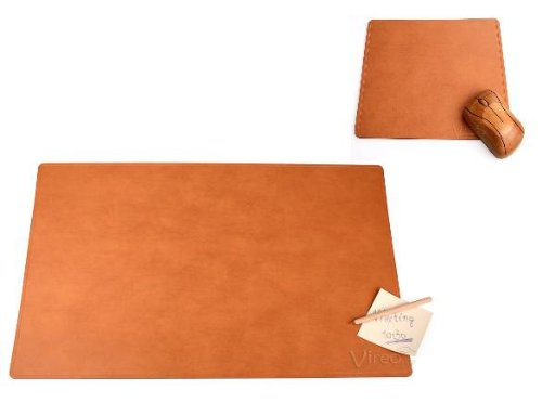 Schreibtischunterlagen Set aus recyceltem Leder - 60x40cm braun