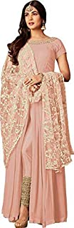 RJ FASHION Women's Faux Gerogette Embroidered Salwar Suit Semi-Stitched Material