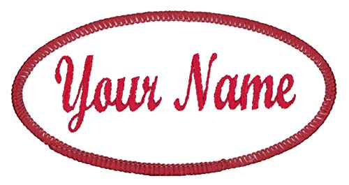 Oval Name Patch Uniform Work Shirt Custom Embroidery White with Red...