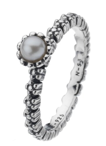 Virtue Silver StackableVRS3012 White Pearl On Flower Shank Ring - Size P