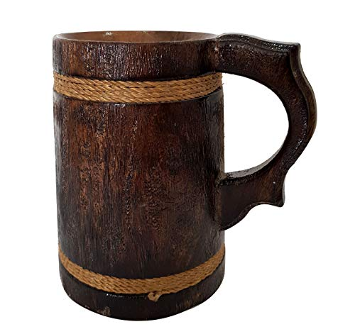 Handgefertigter rustikaler Holz-Bierkrug aus Naturholz, antikes Fass für Kaffee und Tee, Braun