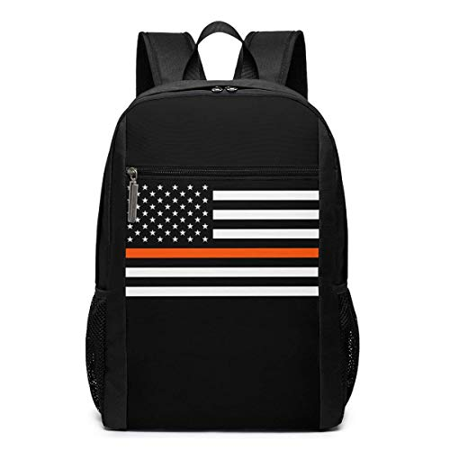 ZYWL Thin Orange Line Search Rescue American Flag Laptop Backpack, Travel Backpack, Bookbag, Bussiness Bag