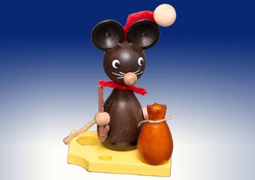 Rudolphs Schatzkiste Ganzjahresdekoration Maus auf Käse als Weihnachtsmann Höhe 7cm NEU Figur Frühling Seiffen Erzgebirge Holz Rauchfigur Dekoration Weihnachten Deko